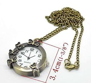 Butterfly Design Round Pocket Watch