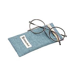 SOOLALA Classic Vintage Round Circle Readers Stylish Reading Glasses Clear Lens Eyeglasses, ShinyBlack, +3.0