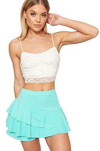 - WearAll Women's Frill Trim Rara Skirt High Waisted Plain Skort Stretch Shorts - Mint Green - US 8 (UK 12)