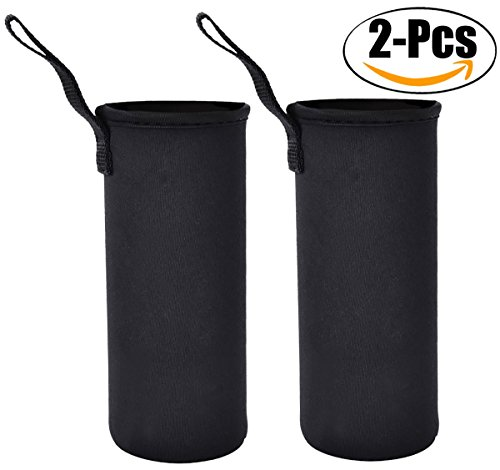 Outgeek Bottle Sleeve Water Bottle Holder Neoprene Carrier 2Pack Black