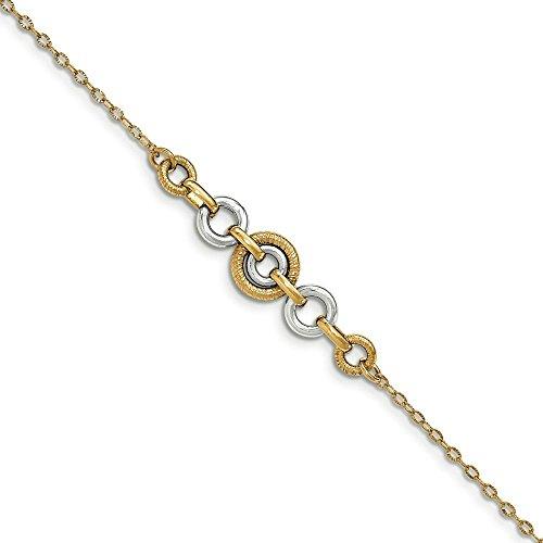 Or 14carats Bicolore Or et poli Cercle-Bracelet Femme-20cm