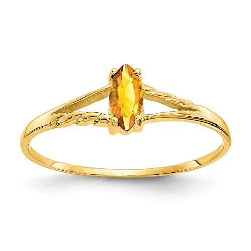 14k Yellow Gold Citrine Birthstone Band Ring Size 7.00 Stone November Marquise Fine Jewelry Gifts For Women For Her