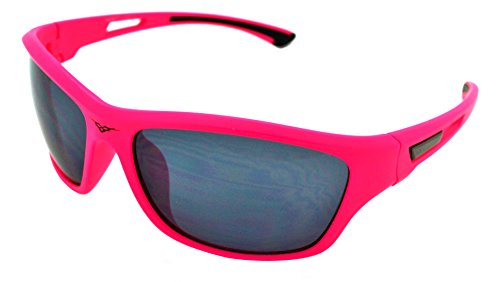 VertX Lightweight Durable Mens & Womens Athletic Sport Sunglasses Cycling Running w/FREE Microfiber Pouch - Pink Frame - Smoke - Athletic Sunglasses