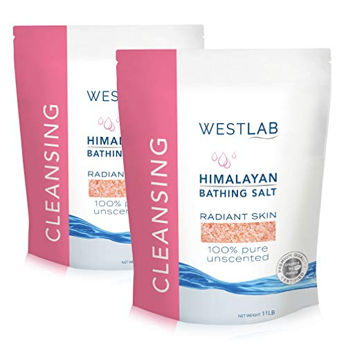 Westlab Pure, Unscented Himalayan Salts. Fine Grain. (2 x 11lb resealable bags, 22lb) for Cleansing, Detoxification and Skincare.100% Pure and Certified mineral content.