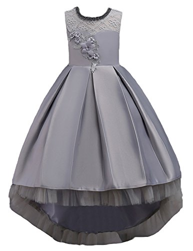 Flower Girls Pageant Dress for Girl Wedding Casual Gowns Age of 10 Dress for Big Girls 11 12 Prom Graduation Girl Dresses Elegant Pageant Party Lace Tulle Gowns Birthday Beauty (Gray, 160) ()