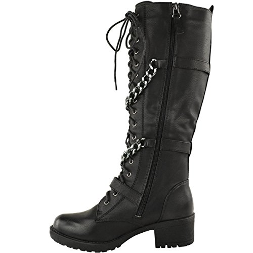 Moda Thirsty Mujeres Knee High Mid Calf Lace Up Biker Punk Botas De Combate Militar Zapatos Tamaño De Imitación De Cuero Negro