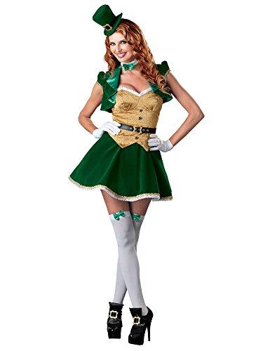 [InCharacter Costumes Women's Lucky Lass Costume, Green/Gold/White, Medium] (Womens Lucky Leprechaun Costume)