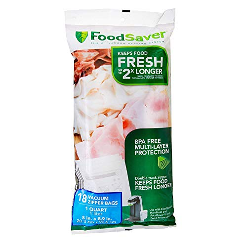 FoodSaver 1-Quart BPA-Free Multilayer Construction Vacuum Zipper Bags, 18 Count (3 Packs)