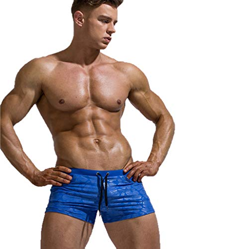 Mens Swim Trunks Sexy Breathable Mesh Lining Shorts Solid Print Sports Swimming Beachwear (M, Blue)
