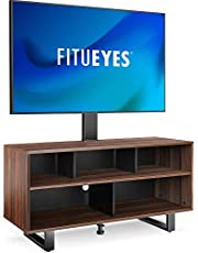 FITUEYES Swivel Floor TV Stand for 32-70 Inch TVS Universal Corner TV Stands with Storage for Media Console Holds Up to 99 Pounds 2 Levels Height Adjustment Television Stands VESA 400x600mm