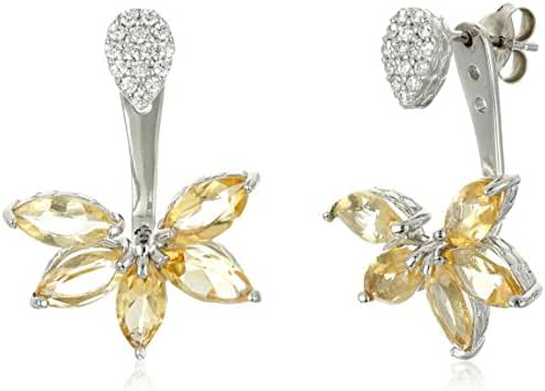 Citrine and Cubic Zirconia Floral Earring Jacket