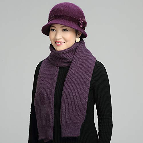 Khaki Purple Marcu Home Mediana De Madre Gorro Cálido color Terciopelo Invierno Otoño Lana Edad Con E 6S6xqZwnH