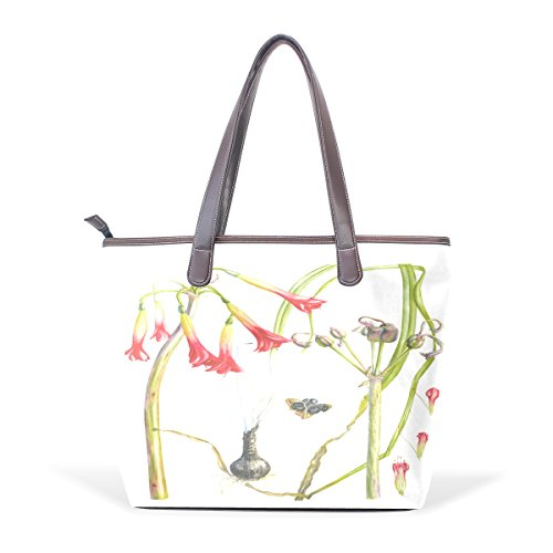 Amaryllis Water (BYouLockX Watercolor Amaryllis Pattern Leather Handbags Satchel ShoulderBag for)