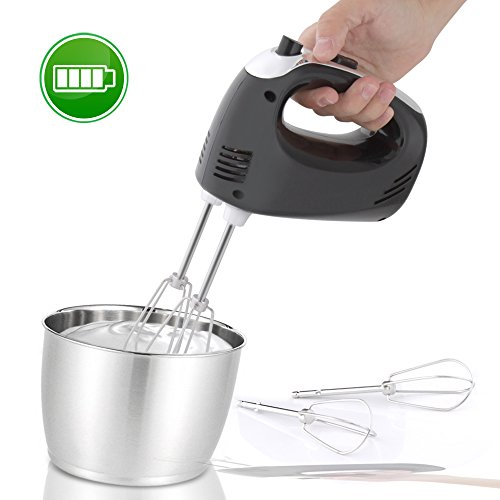 Cordless Electric Kitchen Hand Mixer - Portable Handheld Rechargeable Stainless Steel Whisk Machine with 3 Speed Settings - for Egg, Cake, Dough, Glue Pudding, Bread, Cookies - NutriChef PKHNDMX32