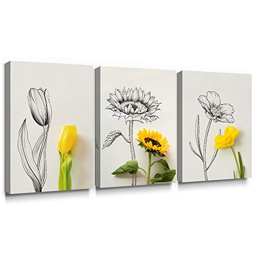 Still Floral Flowers Life Vase (SUMGAR Canvas Wall Art Flowers Drawings Yellow Floral Paintings Still Life Artwork for Kitchen,12''x16''x3pcs)