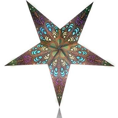 Happy Sales HSSL-FLBGGA Frozen Labyrinth Paper Star Lantern Golden Green, 0.5 x 13 x 10