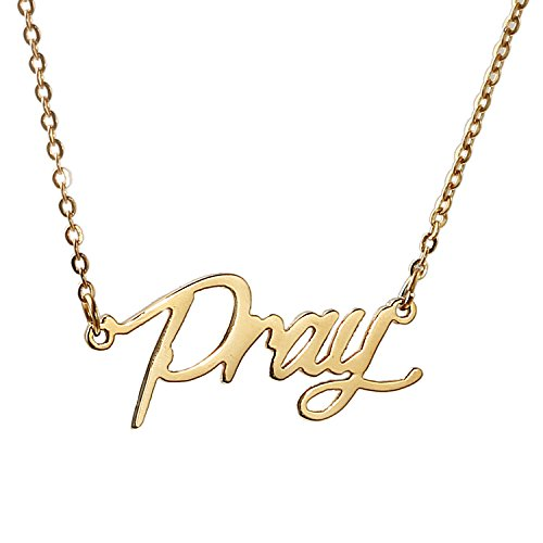 Huan Xun Gold Plated Stainless Steel Initial Charm Necklace  Pray