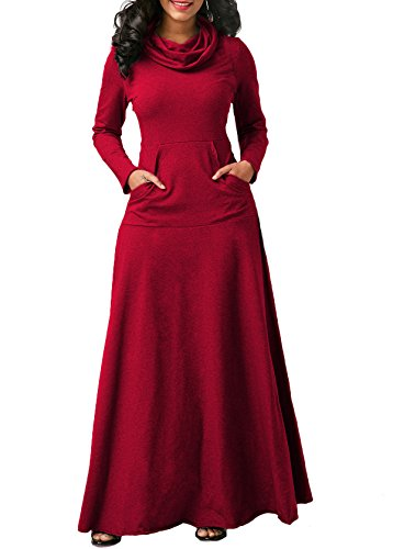 Belted Cowl Neck Dress (Chic-Lover Women's Fall Winter Cowl Neck Plain Casual Long Sleeve Maxi Dress With Pockets Red XL)