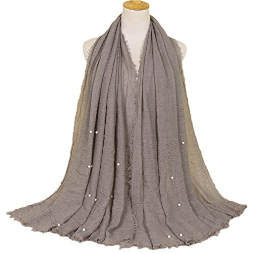 LMVERNA pearl scarfs for women Crinkle Cloud Hijab Scarf pleated scarves fashion long wrap scarf (Number 6) ()