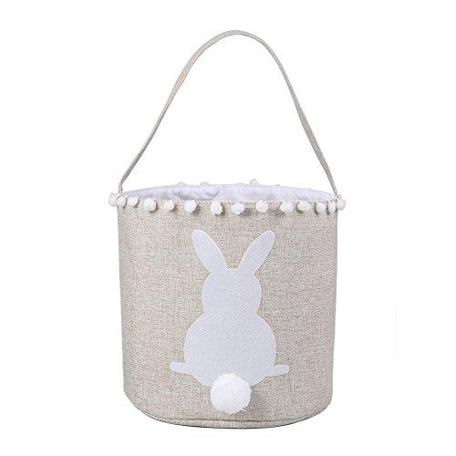 E-FirstFeeling Easter Basket Easter Bunny Bag for Kids Easter Egg Hunt Bag Candy Basket Gifts Toys Bucket Tote (White)]()