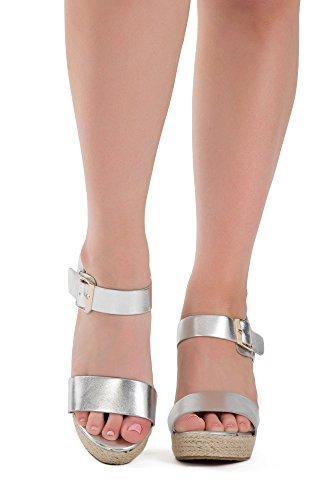 Damen Sandaletten Keilabsatz Espadrilles Wedges Schuhe Sommer Party Schuhe Silber