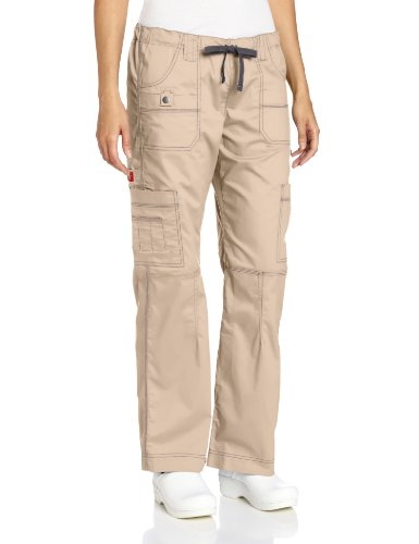 Dickies Women's Genflex Cargo Scrubs Pant, Khaki, X-Small Petite 2 X Dickies Collection