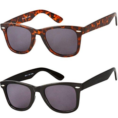 Readers.com the Dallas Wayfarer Sun Readers Reading Sunglasses +2.00 Brown Tortoise / Black (2 Carrying Cases - Dallas Eyeglasses Discount