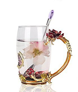 Creative Handmade Enamel Home Decoration Enamel Flower Crystal Glass Coffee Tea Water Cup (37CL, Rose ()