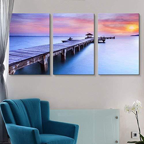 Print Contemporary Art Wall Decor Beautiful Inspiring Calmness at Sunrise Artwork Wood Stretcher Bars X 3 Panels