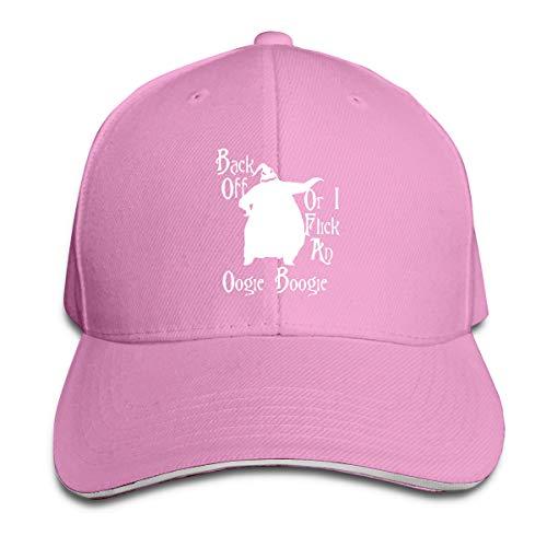 Lkbihl Back Off Oogie Boogie Unisex Adult Adjustable Peaked Sandwich Hats Trucker Cap Baseball Cap Pink
