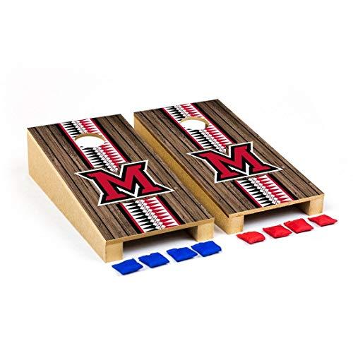 (Victory Tailgate Miami University Redhawks Desktop Cornhole Game Set Heritage Stripe Version)