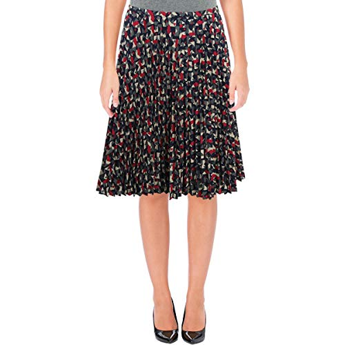 LAUREN RALPH LAUREN Womens Geo-Print A-Line Pleated Skirt Navy 16