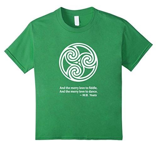Kids Celtic Triskele Triple Spiral W.B. Yeats T Shirt 6 Grass