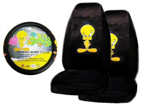 (A Set of 2 Universal Fit Seat Covers and 1 Comfort Grip Steering Wheel Cover - Tweety Bird Stars and Hearts Attitude)