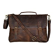 Handolederco 18 inch Vintage Buffalo Leather Messenger Satchel Laptop Briefcase Men's Bag Crazy Vintage Leather Messenger Briefcase Bag