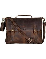 Handolederco 18 inch Vintage Buffalo Leather Messenger Satchel Laptop Briefcase Mens Bag Crazy Vintage Leather...