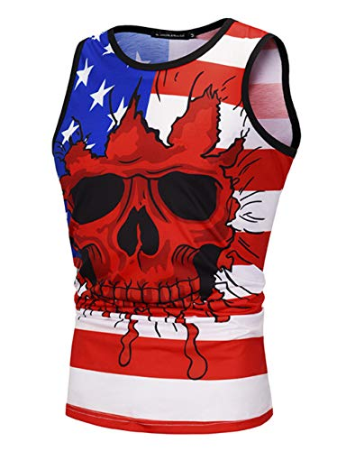 PIZOFF Mens Sleeveless Quickly Dry 3D Digital Print America Flag Workout Compression Tank Top Y1935-16-XL]()