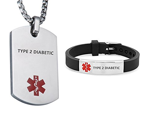LF Stainless Steel Type 2 Diabetic Medical Alert Dog Tag ID Pendant Caduceus necklace Set Adjustable Silicone Rubber Chain Medical ID Health Alert Monitoring Systems Jewelry Sets for Men Women (Type2 Diabetic Bracelet)
