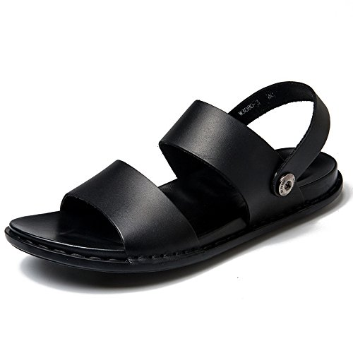 Men's Black Leather Slip-On Sandals Boys Slipper Breathable Cool Beach Shoes Summer Outdoors Walking And Hiking Black