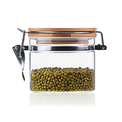 Usmascot Glass Storage Jar with Bamboo Lid, High Borosilicate Glass, Airtight Sealing Ring, 500ml(16.9 FL OZ) Preserving Jars for Tea Coffee Herb Spices Sugar and More (500ml)