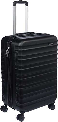 AmazonBasics Hardside Spinner Luggage - 24-inch, Black (Hardside Luggage Case)