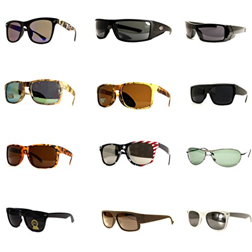 12 Pairs Men Fashion Designer Retro Vintage UV 100% WHOLESALE LOTS - Designer Sunglasses Wholesale