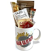 Gift Baskets for Men - Manly Mans Coffee and Snack Attack Gift Baskets - Perfect for Father's Day - Birthday - Get Well - Dad Son Husband (A Dad Coffee Mug - Sawdust Is Just Man Glitter)