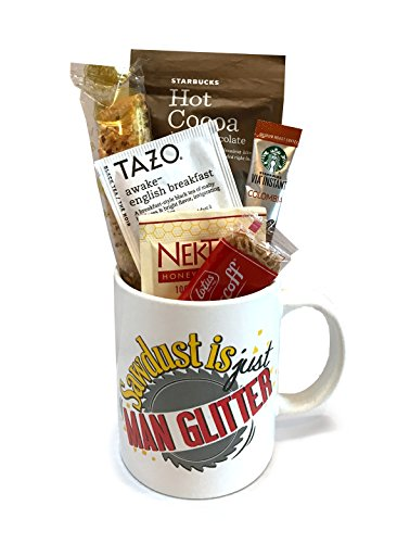 Coffee Tea Cocoa Mug Gift Set with Starbucks Via Coffee, Starbucks Hot Cocoa, Tazo Tea, Honey, Nonni's Biscotti + More -Lots of Cup Styles- (Sawdust Is Just Man Glitter)