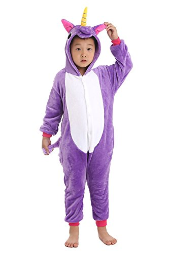 Couples Cosplay Costumes (ABING Halloween Pajamas Homewear OnePiece Onesie Cosplay Costumes Kigurumi Animal Outfit Loungewear,Purple Unicorn Chidren Size 85 -for height 88-102cm)
