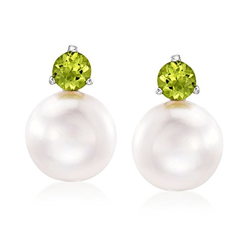 - Ross-Simons 11.5-12mm Cultured Pearl and 1.00 ct. t.w. Peridot Earrings in Sterling Silver