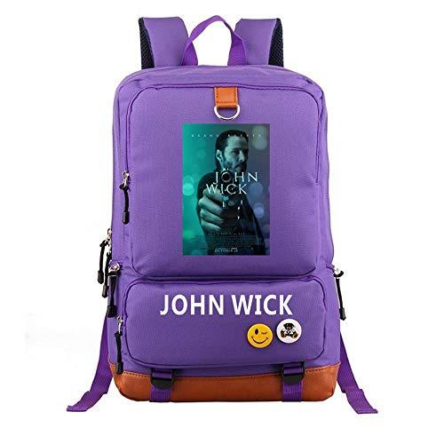 Xcotume John Wick Backpack Men Backpack Casual Backpack for Men Black School Bag Mountaineering Bag Cosplay Backpack (Purple) -