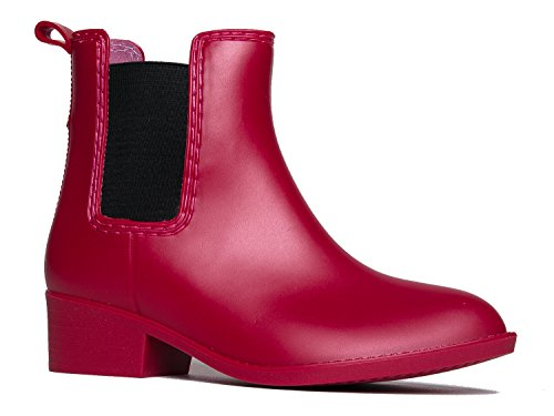 Kaden Rubber Ankle Bootie, Red Matte, 9 B(M) US (Red Women Boots)