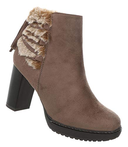 Hellbraun Heels High Schuhe 36 41 Leder Kubanischer Boots Ankle Absatz Elegante Stiefeletten Optik Damen Stiefel 6UqHU
