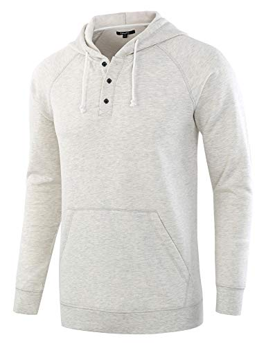 Estepoba Men's Casual Long Sleeve Henley Sweatshirt Knit Fleece Hoodie Pullover
